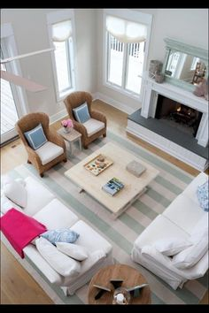 House of Turquoise: Erica Burns Interiors furniture arrangement Furniture Placement, Furniture Layout, Furniture Arrangement, Arrange Furniture, Sofa Layout, Furniture Design, Living Room With Fireplace, Home Living Room, Living Room Decor
