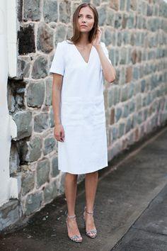 Viet Dress - White Brocade / Thin Strap Heel - Cobra Embossed from Emerson Fry
