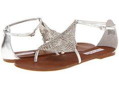 New Steve Madden Womens Shineyy Silver Metallic Gladiator Thong Sandals  8.5