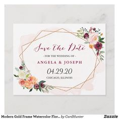Shop Modern Gold Frame Watercolor Floral Save the Date Announcement Postcard created by CardHunter. Personalize it with photos & text or purchase as is! Save The Date Invitations, Save The Date Postcards, Save The Date Magnets, Wedding Invitation Cards, Save The Date Cards, Zazzle Invitations, Invites, Floral Wedding Save The Dates, Rustic Save The Dates