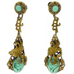 Vintage Art Deco Max Neiger Chinese Dragon Vibrant Green Carved Peking Glass Screw Earrings | Clarice Jewellery | Vintage Costume Jewellery