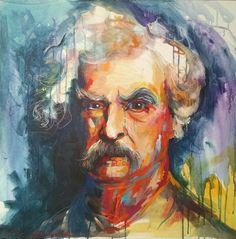 """Mark Twain. Mixed Media on canvas. 24""""x24"""""""