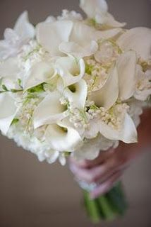 "Lily of the valley & white cala lilies.... ""I so would <3 to change this to Veneer Calla's w/theLily of the valley!"""