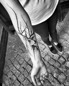 "1337tattoos: ""Inez Janiak""  Features a stag, black and white."