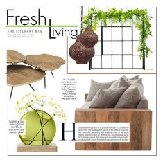 """""""Fresh Living"""" by stylemaven2 ❤ liked on Polyvore featuring interior, interiors, interior design, home, home decor, interior decorating, Eichholtz, LSA International, GREEN and brown #greenliving"""