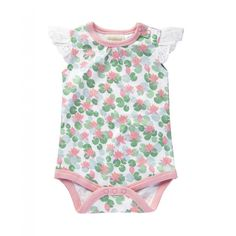 Sapling Child Organic Floating Lotus Lace Bodysuit | Organic Baby clothing Online Australia