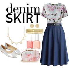 Denim Skirt by demetriab on Polyvore featuring polyvore fashion style adidas Originals Chicwish Accessorize Oasis Liz Claiborne Charlotte Russe River Island Essie floral flats denimskirt