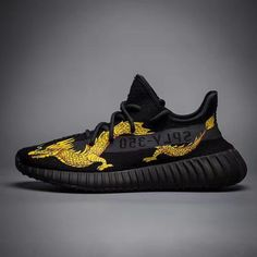 8b1068615668e Original ADIDAS MATERIALS YEEZY Boost 350 V2 Print Gold Drago All Black 2018  Online Bape Sneakers