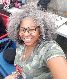Grey natural hair beauty