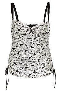 Sugar skull swim tankini top  (not sure if it will hold the girls in.  Why do they not put support in swimsuits for plus size women.  I mean come, on!)