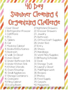 40 Day Summer Cleaning  Organizing Challenge - free printable that you can download  customize.