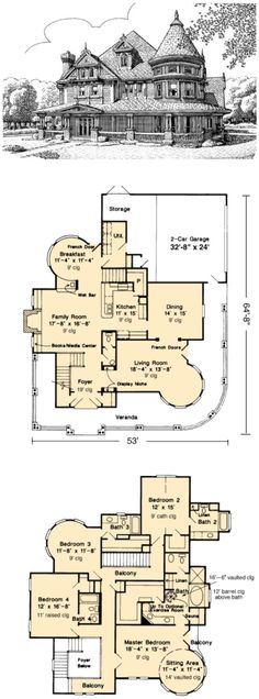 Really love this layout a lot --------- House Plan 95539 | Country Farmhouse Victorian Plan with 3435 Sq. Ft., 4 Bedrooms, 5 Bathrooms, 2 Car Garage at family home plans by jeannette