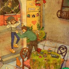 Artista coreana ilustra pequenas situações do dia-a-dia que representam o amor verdadeiro | Ideia Quente