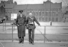 Bus Conductor Dennis H Barley (right) and unnamed Regulator (left) at Pond Street Bus Station, Sheaf Island Works - Joseph Rodgers and Sons Ltd., Cutlery Manufacturers (No. 6 Works) in background South Yorkshire, Bus Station, Historical Images, My Town, Derbyshire, Sheffield, Public Transport, Cutlery, Old And New