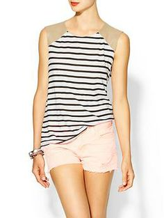 Stripe Leather Detail Tank.  I really, really NEED this :)