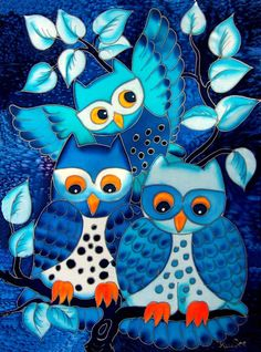 'Three Blue Owls' by Kirsten Seeberg