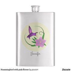 Hummingbird with pink flower hip flask
