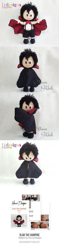 Vlad The Vampire amigurumi.. link to purchase the pattern:  http://www.amigurumipatterns.net/shop/Havva-Designs/Vlad-the-Vampire/