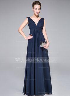 A-Line/Princess V-neck Floor-Length Chiffon Charmeuse Evening Dress With Ruffle Beading (007040784)