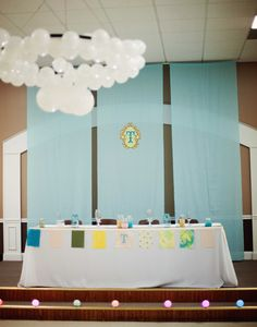 Wedding Decor - LED Balloon Chandelier and custom fabric I designed on Spoonflower.com to match our invitations