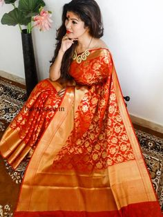 Banarasee/Banarasi Art Silk Sari -Crimson Red Patola with skirt border