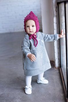 Baby clothing, toddler fashion, baby fashion , dress, screenprinted, lamb, knit bonnet, handknit Toddler Fashion, Hand Knitting, Lamb, Screen Printing, Winter Hats, Crochet Hats, Clothing, Collection, Dresses