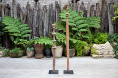 Tuareg posts are used as tent pegs, or to hang items on within a tent. They also serve as a protective totem. Tent Pegs, African Sculptures, Ladders, Ibiza, Posts, Detail, Garden, Interior, Stairs
