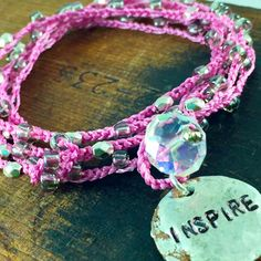 Inspire Pink Silver Beaded Crochet 5x Wrap Bracelet Beaded Necklace Boho Chic Style Inspirational Word Jewelry, Personalized Word Jewelry by kyleemaedesigns on Etsy
