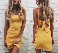 Solid Color Back Tie Midi Dress Casual off Sale Free Exchange simple back cutout dress yellow back tie dresses short sundress solid color spaghetti strap sundress for summer The post Solid Color Back Tie Midi Dress Casual appeared first on Summer Ideas. Short Beach Dresses, Sexy Dresses, Cute Dresses, Short Casual Dresses, Neutral Short Dresses, Dresses 2016, Floral Dresses, Elegant Dresses, Vintage Dresses
