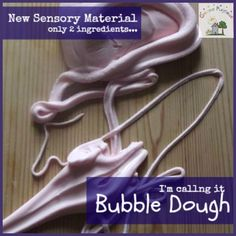 Dish soap plus cornstarch - ooh!  Can't wait to try Bubble Dough!  From Creative Playhouse.