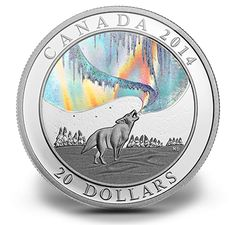 1 oz. Fine Silver Hologram Coin - A Story of the Northern Lights: Howling Wolf - Mintage: 8,500 (2014)
