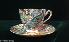 Shelley-Fine-Bone-China-Cup-and-Saucer-Blue-Green-Paisley-Chintz-Ripon-Shape
