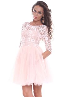 Shop Mini Dresses - Pink Guipure Lace Long Sleeve A-line Mini Dress online. Discover unique designers fashion at StyleWe.com.