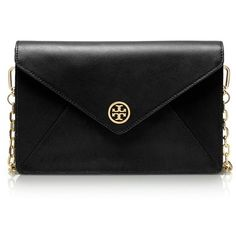 Tory Burch Robinson Envelope Clutch (€315) ❤ liked on Polyvore featuring bags, handbags, clutches, purses, bolsas, black, leather purse, black leather purse, envelope clutch bag and black leather handbags