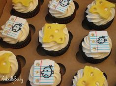 """Diary of a Wimpy Kid Cupcakes - Cupcakes for my Son's birthday decorated in the theme of his fav book series - Diary of a Wimpy Kid :) Of course I had to include the infamous """"cheese-touch cheese"""" :) Kid Cupcakes, Cupcake Cookies, Decorated Cupcakes, Wimpy Kid Series, Pikachu Cake, Wimpy Kid Books, Cupcake Diaries, My Son Birthday, Birthday Ideas"""