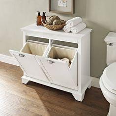Crosley Furniture Lydia Linen Hamper in White (Wood)