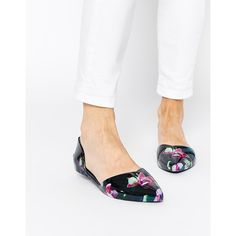 Ted Baker Rikyu Print Jelly Two Part Flat Shoes (£55) ❤ liked on Polyvore featuring shoes, flats, fuchsia print, flat shoes, fuschia flat shoes, ted baker, print shoes and fuschia flats