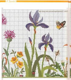 come in un prato 4 Butterfly Cross Stitch, Just Cross Stitch, Cross Stitch Cards, Cross Stitch Flowers, Cross Stitching, Cross Stitch Embroidery, Embroidery Patterns, Cross Stitch Designs, Cross Stitch Patterns