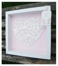 Personalised Paper Cut baby Frame от KatieElliottDesigns на Etsy