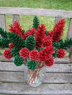 Nature's Craft Supply and Decor by NaturesCraftSupply - Pine Cone Floral Picks, Pine Cone Flowers. Red or green, or mix, 1 dozen. Christmas Floral Arrangements, Christmas Centerpieces, Flower Arrangements, Christmas Decorations, Wedding Centerpieces, Christmas Pine Cones, Christmas Wreaths, Christmas Crafts, Christmas Wedding