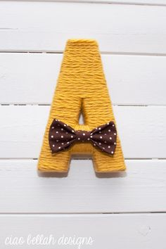 Yarn Wrapped Letters in Daffodil- Listing for singles- ABCs Baby Gift- Nursery Decor- Baby Shower Gift,  Baby Shower Decor- Yellow / Mustard...