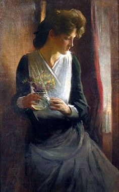 John White Alexander  contemplation woman looking right