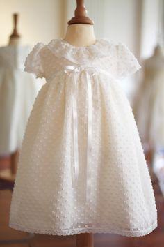 Robe baptême courte en voile de soie plumetis Alicia Plus