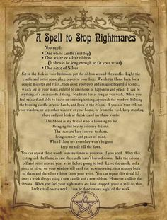 A Spell to Stop Nightmares for homemade Halloween Spell Book. Halloween Spell Book, Halloween Spells, Witch Spell Book, Witchcraft Spell Books, Magick Spells, Magic Spell Book, Wiccan Symbols, Magic Symbols, Viking Symbols