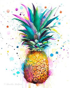Pineapple watercolor painting print by Slaveika Aladjova art illustration home decor Contemporary Kitchen Decor Modern Botanical Pineapple Tattoo, Pineapple Art, Water Color Pineapple, Pineapple Design, Painting Prints, Watercolor Paintings, Art Prints, Watercolor Artists, Oil Paintings