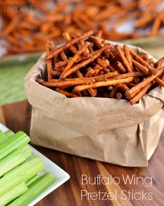 These Buffalo Wing Pretzel Sticks are the perfect snack to enjoy while watching the game! Make a big batch for the whole family to share. Appetizers For Party, Appetizer Recipes, Snack Recipes, Cooking Recipes, Pretzel Recipes, Thai Recipes, Easy Recipes, Easy Meals, Buffalo Wings