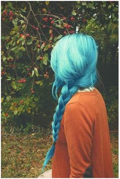 Hairstyles- auburn with blue♡