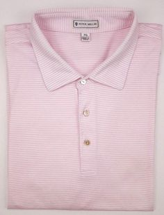109d231aeda5 Peter Millar 2XL Polo Shirt Golf Striped White Pink Mens Size Sz Cotton XXL  Man
