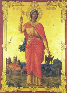 Greatmartyr Marina of Antioch in Pisidia Ste Marguerite, Sick Baby, St Margaret, Religious Paintings, Byzantine Icons, Orthodox Christianity, Religious Icons, Orthodox Icons, Medieval Art
