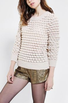 Super soft chunky bauble sweater from Lucca Coutoure. #urbanoutfitters